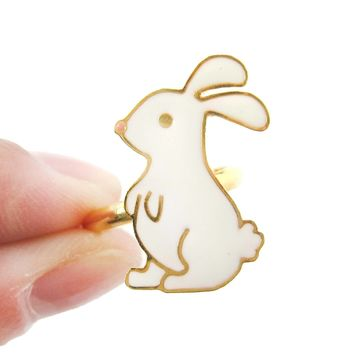 Handmade Bunny Rabbit Shaped Animal Themed Adjustable Ring | Limited Edition