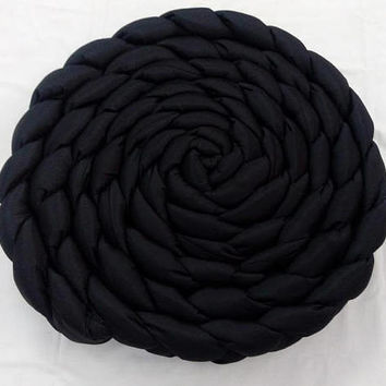 Black Pouf-Mindfulness Gift-Braided Pillow-Knot Pillow-Round Floor Pillow-Sofa pillow-Throw Pillows-Pouf Ottoman-Couch Pillow-Floor Pillow