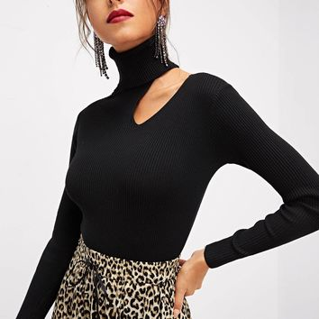 Black Rolled Neck Asymmetrical Sweater