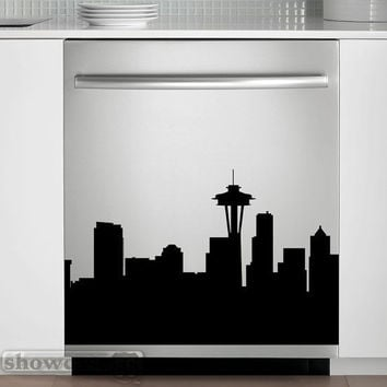 Seattle Skyline - Vinyl Dishwasher Art - FREE Shipping - Fun Cityscape Decal
