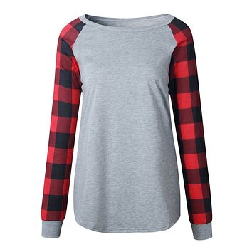 Plaid Panel Raglan Sleeve Top
