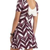 Bow-Back Abstract Chevron Skater Dress - Dark Purple Combo