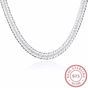 Trendy joyas de plata 925 silver 20 inches Long Chain Necklace Fine Jewelry For men Widde 10MM