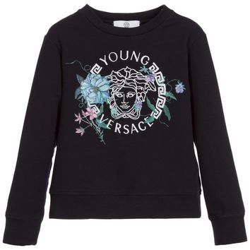 Versace Girls Navy Blue Medusa Logo Sweatshirt