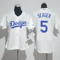 Women's Los Angeles Dodgers 5 Corey Seager Majestic Cool Base Jersey