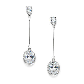 Cubic Zirconia Oval Dangle Bridal, Prom or Bridesmaids Earrings 3636E