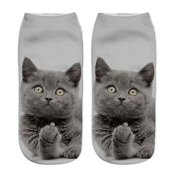 3D Animal Cat Printed Unisex Funny Socks Men And Women Casual Low Cut Christmas Socks 1 Pair High Quality Cotton Girl Socks