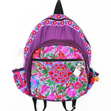Hmong Design Purple Color Backpack Pretty Embroidered Fabric Thailand (BG125-PUR)