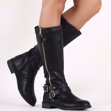 Zipper And Buckle Riding Knee High Boots