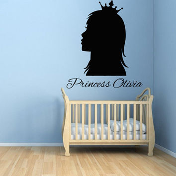 Girl Wall Decals Personalized Name Words Princess in Crown Vinyl Sticker Kids Room Decor Home Decor Vinyl Art Girl Nursery Room Decor KG424