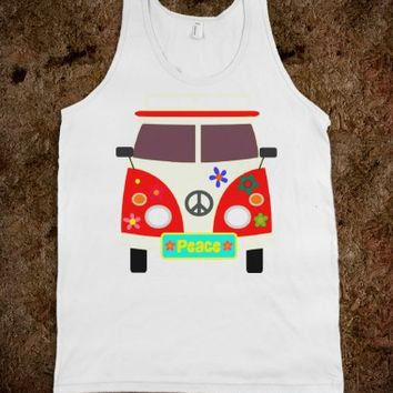 Peace and love bus tank top tee t shirt