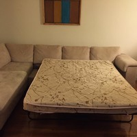 7-Seater Ivory Sectional with Sofa Bed