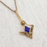 Antique 10k Yellow Gold Blue Stone Necklace - Vintage Edwardian Art Nouveau Lavalier Pendant Fine Jewelry / Early 1900s Dangle