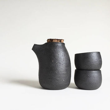 2 CUPS SAKE SET, rustic, black, ceramic, ceramics, pottery, handmade, vessel, ewer, pitcher, carafe, bottle, decanter