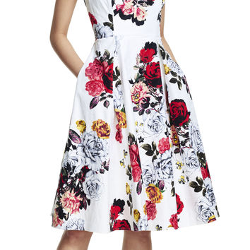 Rose Print Classic Pleat Dress - Adrianna Papell