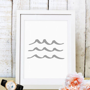 60% OFF SALE Wave Art, Wave Print, Wave Prints,Blue Wave Print Art,Grey Ocean Wall Art, Sea Art,Nautical Print,Summer Print,Grey Ocean Water