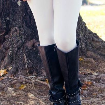 White Fleece Lined Leggings