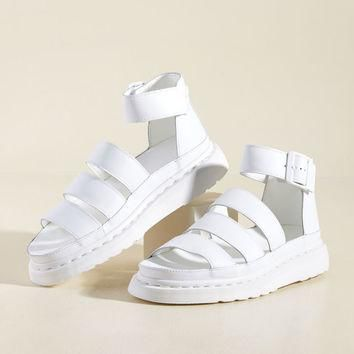 Flatform Performance Leather Sandal in White