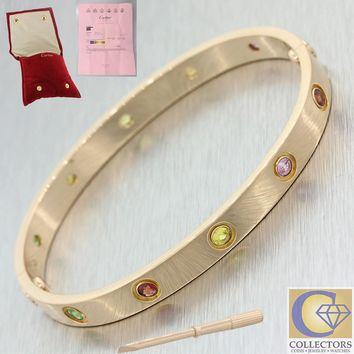 One-nice? Cartier 18k Solid Rose Gold Rainbow Style Gemstone Love Bangle Bracelet Size