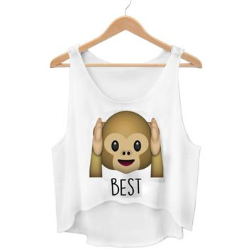 New Cute Monkey Emoji Crop Top Harajuku Kwaii Best Friends Forever Summer Funny Femme WCT27