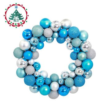 inhoo polystyrene balls ring  Christmas Wreath Garland Hanging Pendant Decor For  Restaurant  Window Door  Wedding  Decorations