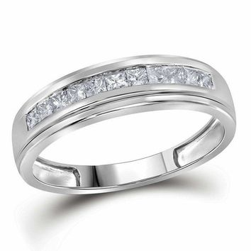 10kt White Gold Mens Princess Diamond Single Row Wedding Band Ring 3-4 Cttw