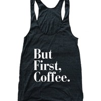 RexLambo Women's But First Coffee Flowy Athletic Racerback Tank Top