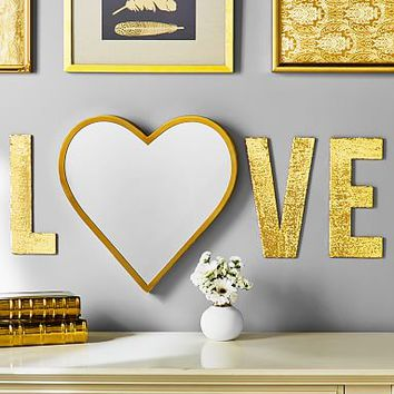 Brass Trim Heart Mirror