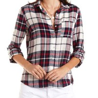Button-Up Plaid Tunic Top by Charlotte Russe - Navy Combo