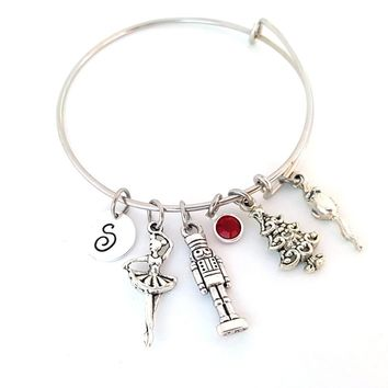 Nutcracker Ballet Charm Silver Bangle Bracelet
