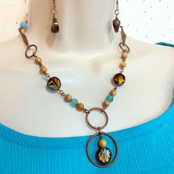 Yellow and Blue Marbled Stone Necklace, 2 strands of Copper chain, Pearlesque Yellow and Blue beads, with Matching Earrings, Handmade