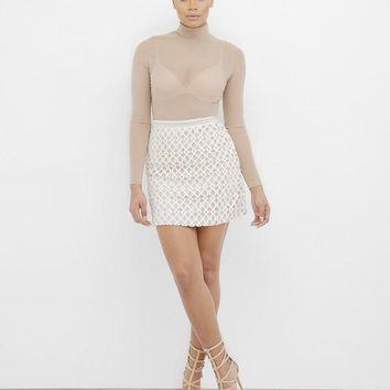 SNOWFLAKE STUNNER LATTICE SKIRT - WHITE