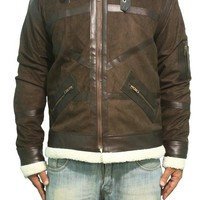 Power 50 Cent Brown White Fur Suede Leather Jacket