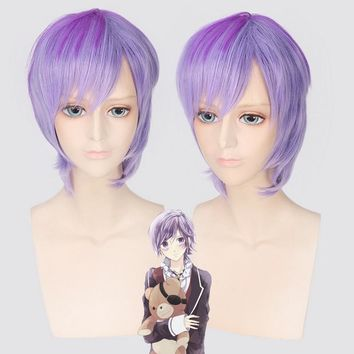 Diabolik Lovers Sakamaki Kanato Short Cosplay Wig Purple Ombre Hair Synthetic Anime Halloween Costume Wigs For Men And Boys 30cm