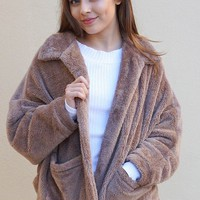 Make A Statement Mocha Brown Faux Fur Collar Jacket