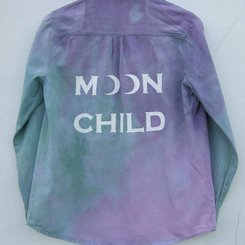 Moon Child Pastel Grunge Tie Dye Denim Shirt, Studded Shoulders - Flawed, Buttons Missing ON SALE