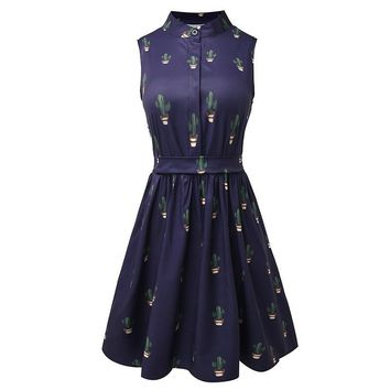 Cute Cactus Print Fitted Button A-Line Dress Summer Casual