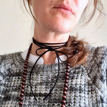 Long Leather Choker Necklace/ Leather Lariat Tie/ Long Leather Choker/ Leather Choker/ Boho Choker/ Leather Wrap Choker/ Leather Tie Choker