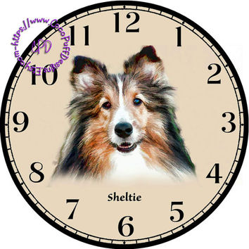 """Black, Tan & White Sheltie Dog Art - -DIY Digital Collage - 12.5"""" DIA for 12"""" Clock Face Art - Crafts Projects"""