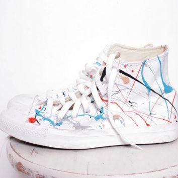 CREYONB Custom Made Splatter Painted Vintage White Leather HighTop Converse Sneakers Size 7