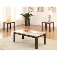 Acme Carly 3Pc Pack Coffee/End Table Set, Faux Marble & Cherry