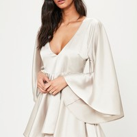 Missguided - Grey Satin Open Back Swing Dress