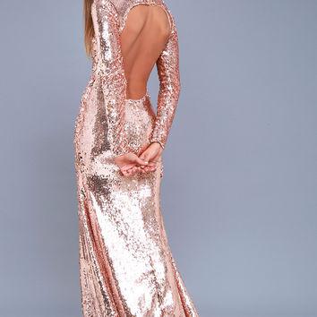 Simply Regal Rose Gold Sequin Backless Maxi Dress