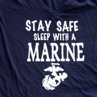 Stay safe sleep with a Marine v neck T shirt
