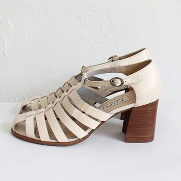 Vintage 80s White Cut Out Chunky Heeled Sandals   Women's 8.5