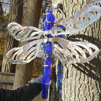 Large Stained Glass and Stainless Steel DragonFly Sculpture, Exterior Metal Art, Hanging Metal Art, Metal & Glass Insect sculpture