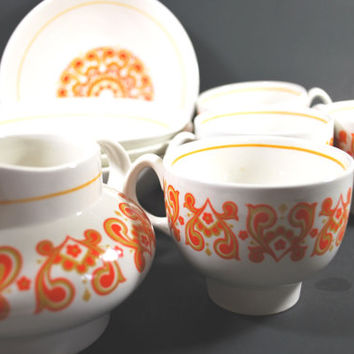 Dinnerware Set Ridgeway England Christina Pattern , !960 Soup Bowls Coffee Mugs and Milk Jug