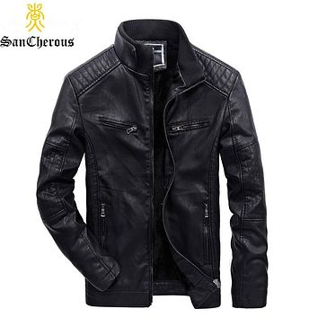 2019 Winter Casual Multi-pocket Business Style Leather Jacket Lining Plus Velvet Thick Men Windbreak Winter Jacket