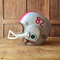 Vintage Youth Football Helmet, Vintage Rawlings Football Helmet, Off White And Red Kids Football Helmet