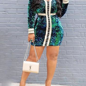 Green Patchwork Sequin Lace-up Bodycon Long Sleeve V-neck Party Clubwaer Mini Dress